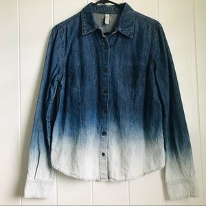 Ombré denim button down
